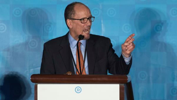 Former Labor Secretary Tom Perez was chosen to lead the Democratic Party over a congressman backed by the progressive wing. (Branden Camp / Associated Press)