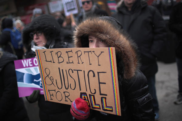 Demonstrators protest in support of transgender rights in Chicago on Saturday Feb. 25