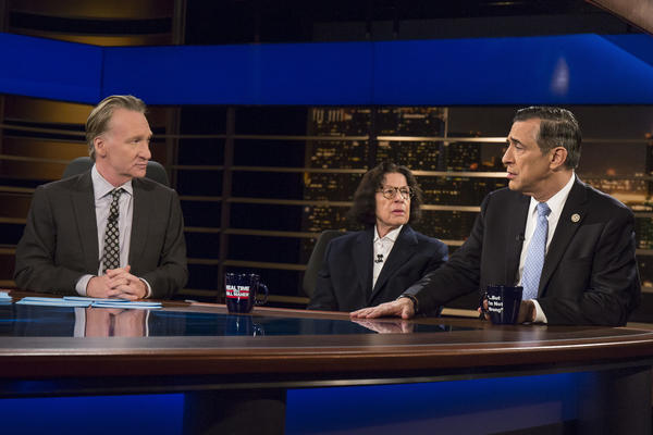"Rep. Darrell Issa, right, speaks on a panel with host Bill Maher, left, and Vanity Fair contributing editor Fran Lebowitz during HBO's ""Real Time with Bill Maher"" on Feb. 24. (Rep. Darrell Issa, right, speaks on a panel with host Bill Maher, left, and Vanity Fair contributing editor Fran Lebowitz during HBO's ""Real Time with Bill Maher"" on Feb. 24.)"