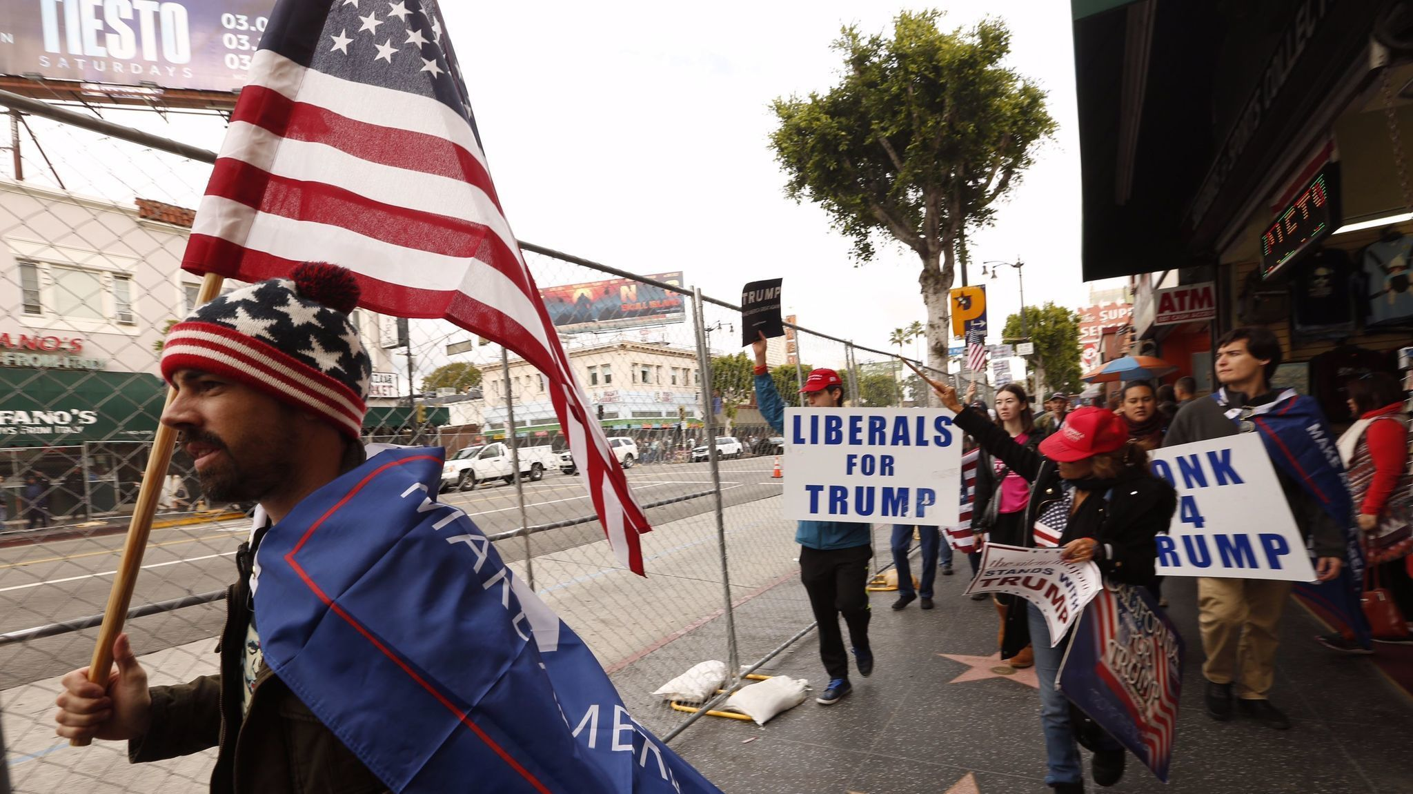Trump supporters rally against 'Hollywood elites' ahead of the Oscars