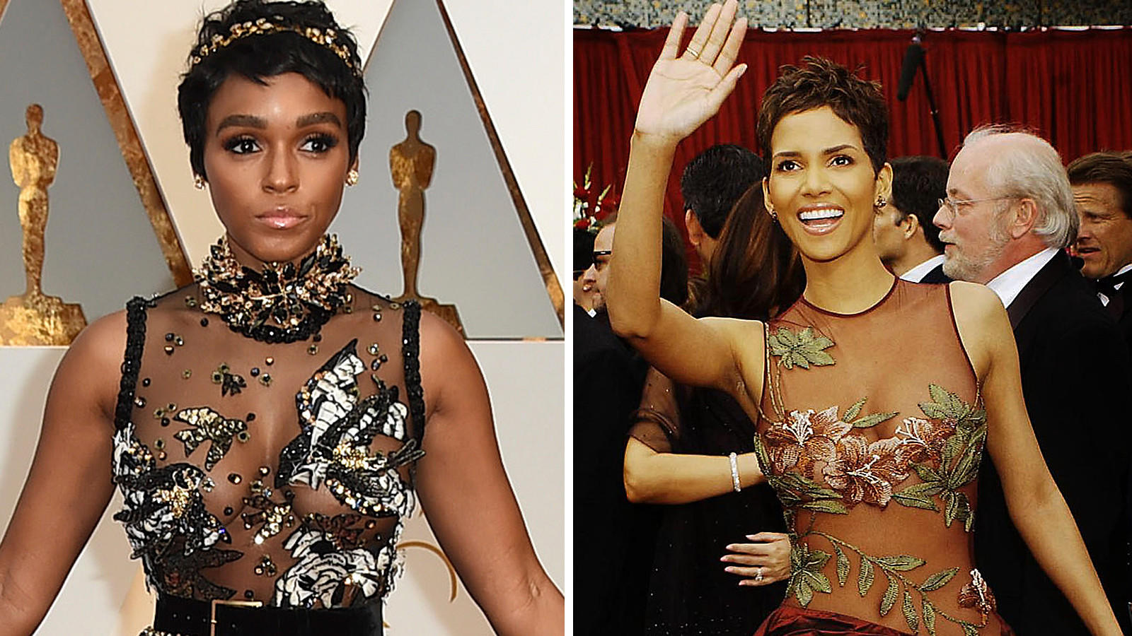 Janelle Monáe Left And Halle Berry In Elie Saab Los Angeles Times