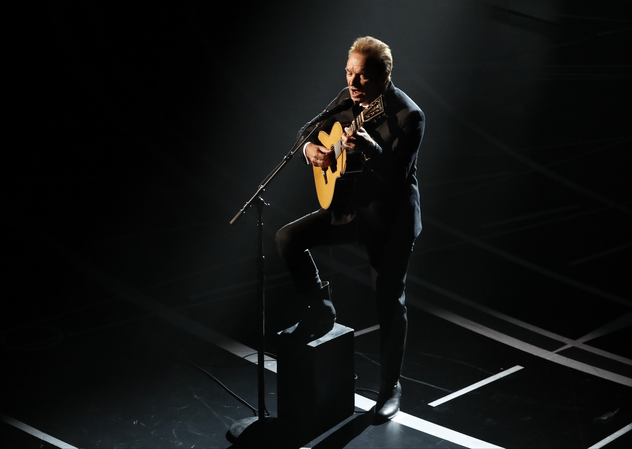 Sting performing at the Oscars on Sunday. (Kevin Winter / Getty Images)
