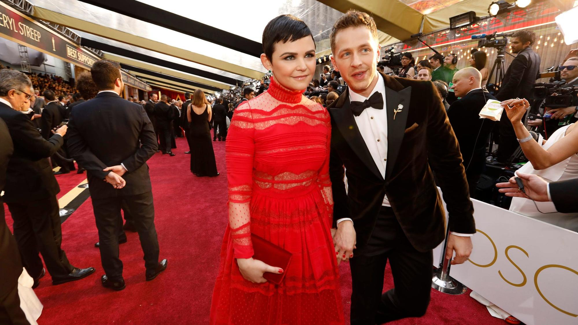 Ginnifer Goodwin, left, and Josh Dallas during the arrivals at the 89th Academy Awards on Feb. 26. (Al Seib / Los Angeles Times)