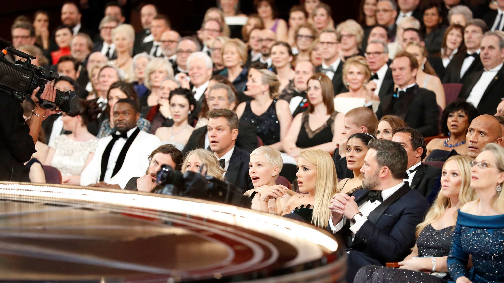 "The stunned Oscars ceremony audience after learning that ""Moonlight"" and not the previously announced ""La La Land"" had won the best picture award. (Al Seib / Los Angeles Times)"