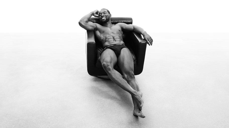 """Calvin Klein's spring 2017 men's underwear campaign features """"Moonlight"""" actor Trevante Rhodes wearing a cotton stretch hip brief. (Calvin Klein)"""