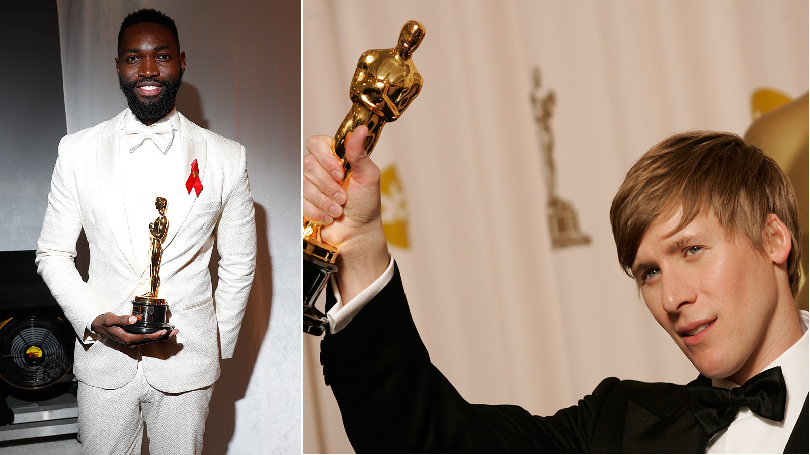 Tarell Alvin McCraney, left, at the 2017 Academy Awards and Dustin Lance Black at the 2009 Academy Awards. (Jay L. Clendenin / Lawrence K. Ho / Los Angeles Times)