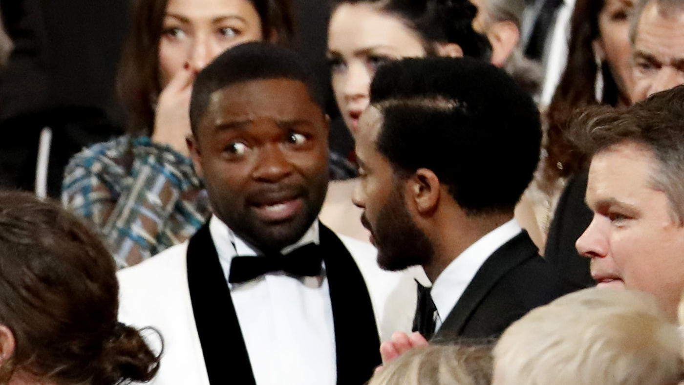 David Oyelowo, center, takes in the events. (Al Seib / Los Angeles Times)