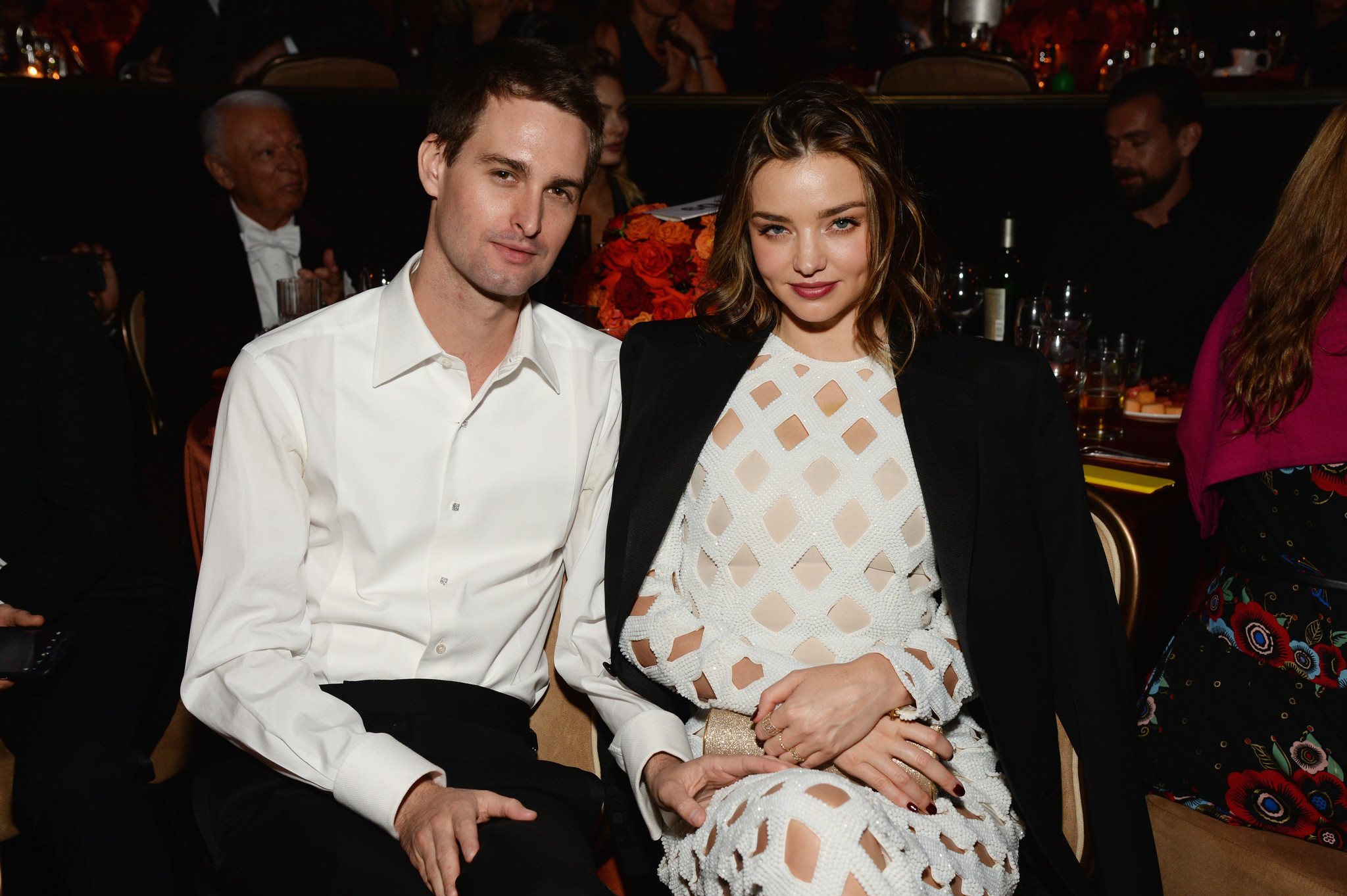 Evan Spiegel and fiancee Miranda Kerr at an event at the Beverly Hilton Hotel last year.