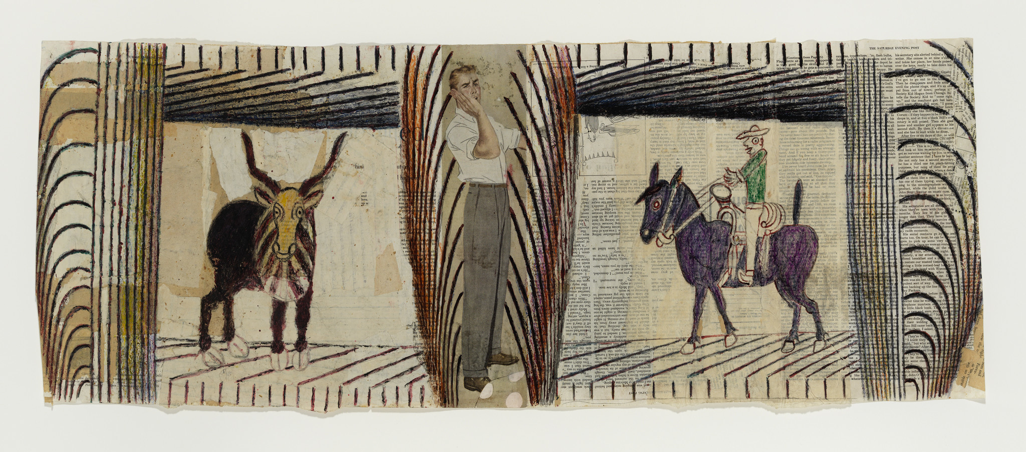 An undated collage-drawing by Martin Ramirez features a male figure sandwiched between a bull and a horse rider.