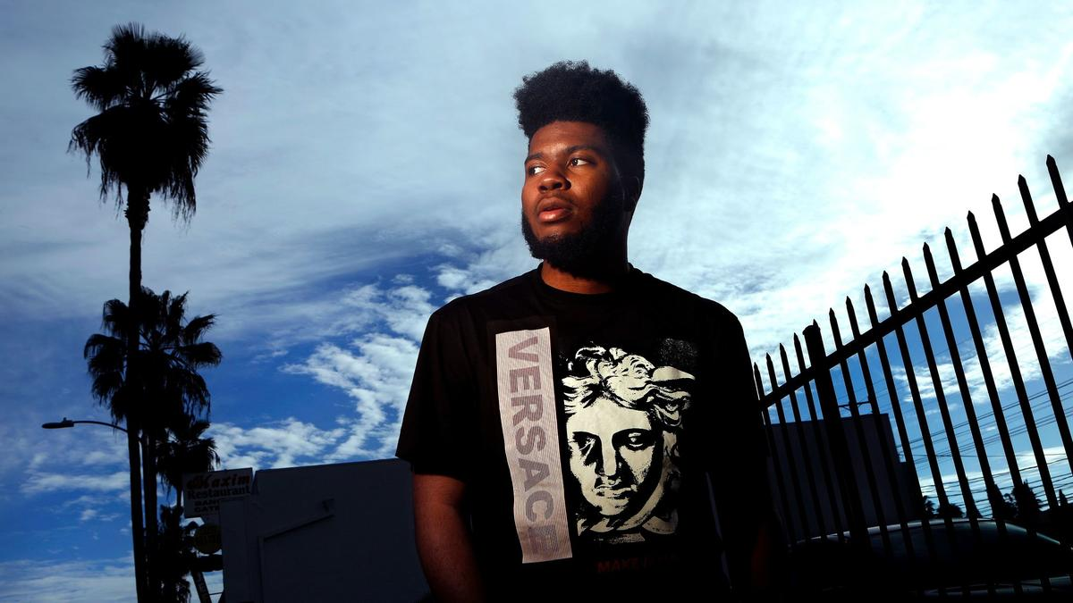 Rising singer Khalid is shown on Fairfax Avenue in Los Angeles on Feb. 16. (Mel Melcon / Los Angeles Times)