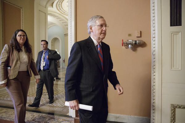 """We know the task before us is daunting,"" Senate Majority Leader Mitch McConnell (R-Ky.) said Monday. (J. Scott Applewhite / Associated Press)"