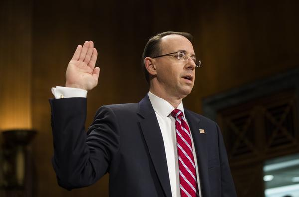 Rod Rosenstein is sworn in before testifying before the Senate Judiciary Committee during his confirmation hearing to be deputy attorney general in Washington on Tuesday