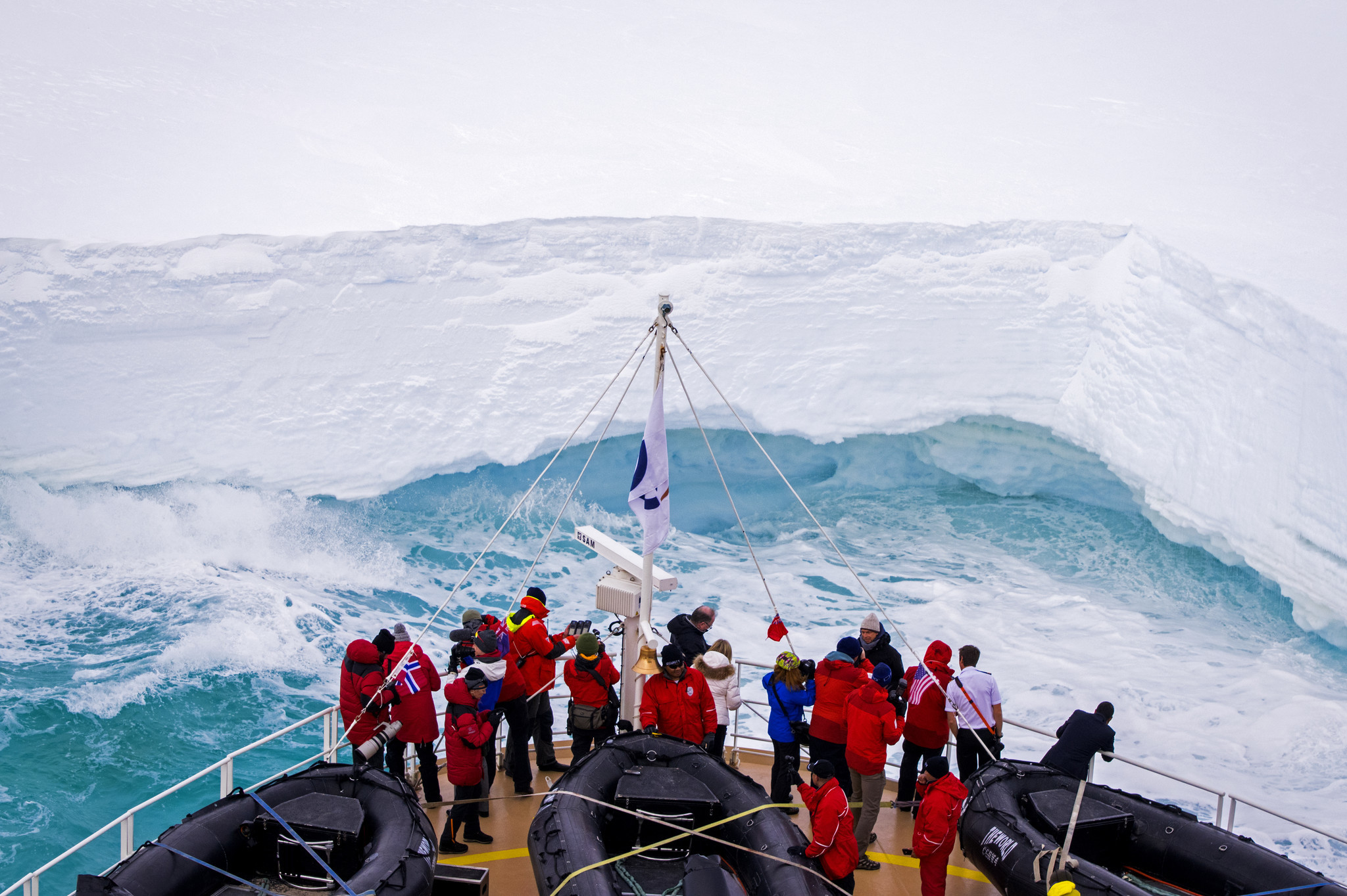 The World came within two meters of the Ross Ice Shelf.