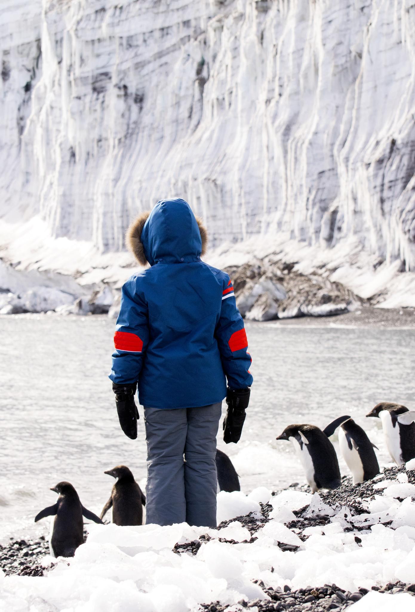 Nikolai and the penguins in Antarctica.