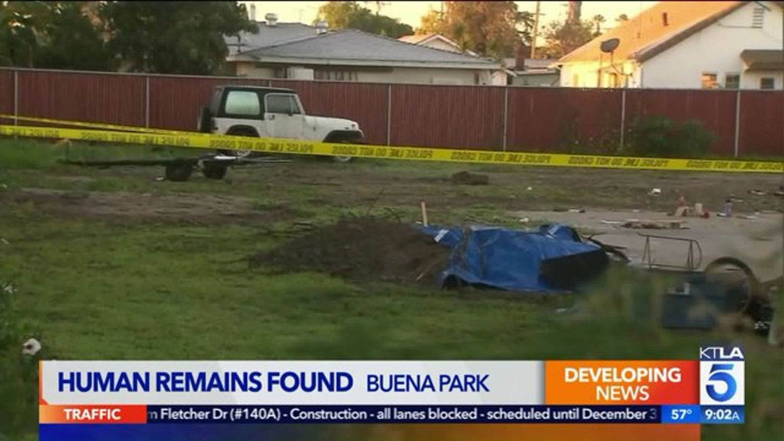 Human Bones Found In Backyard Of Buena Park Home