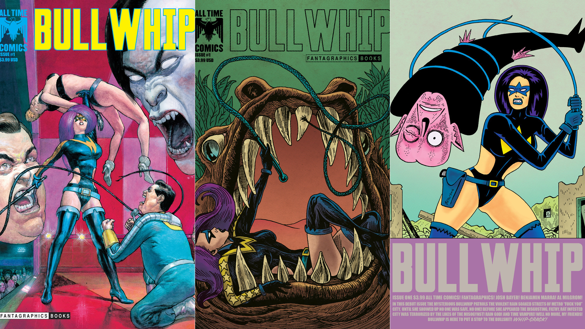 """All Time Comics: Bullwhip No. 1"" covers by Das Pastoras, from left, Tony Millionaire and Gilbert Hernandez"