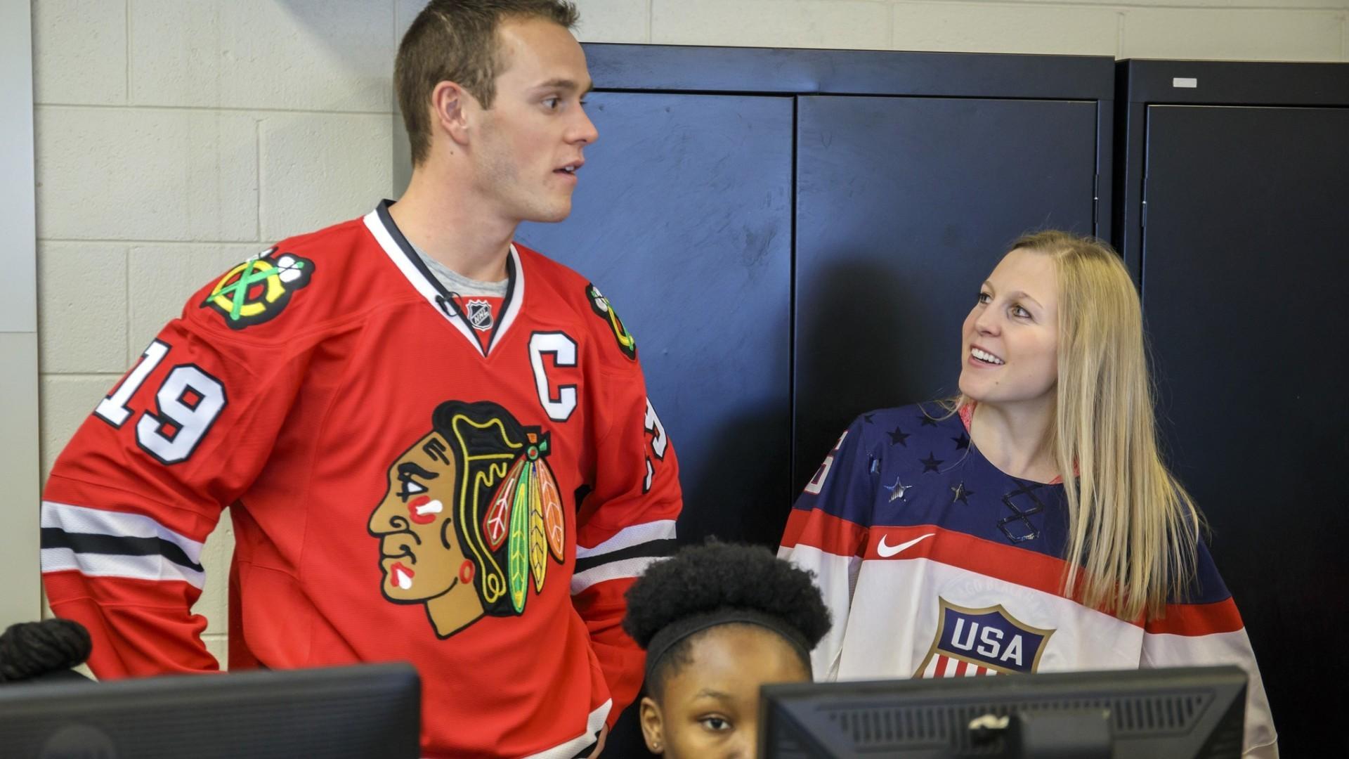 blackhawks jonathan toews and team usa hockey s kendall coyne visit