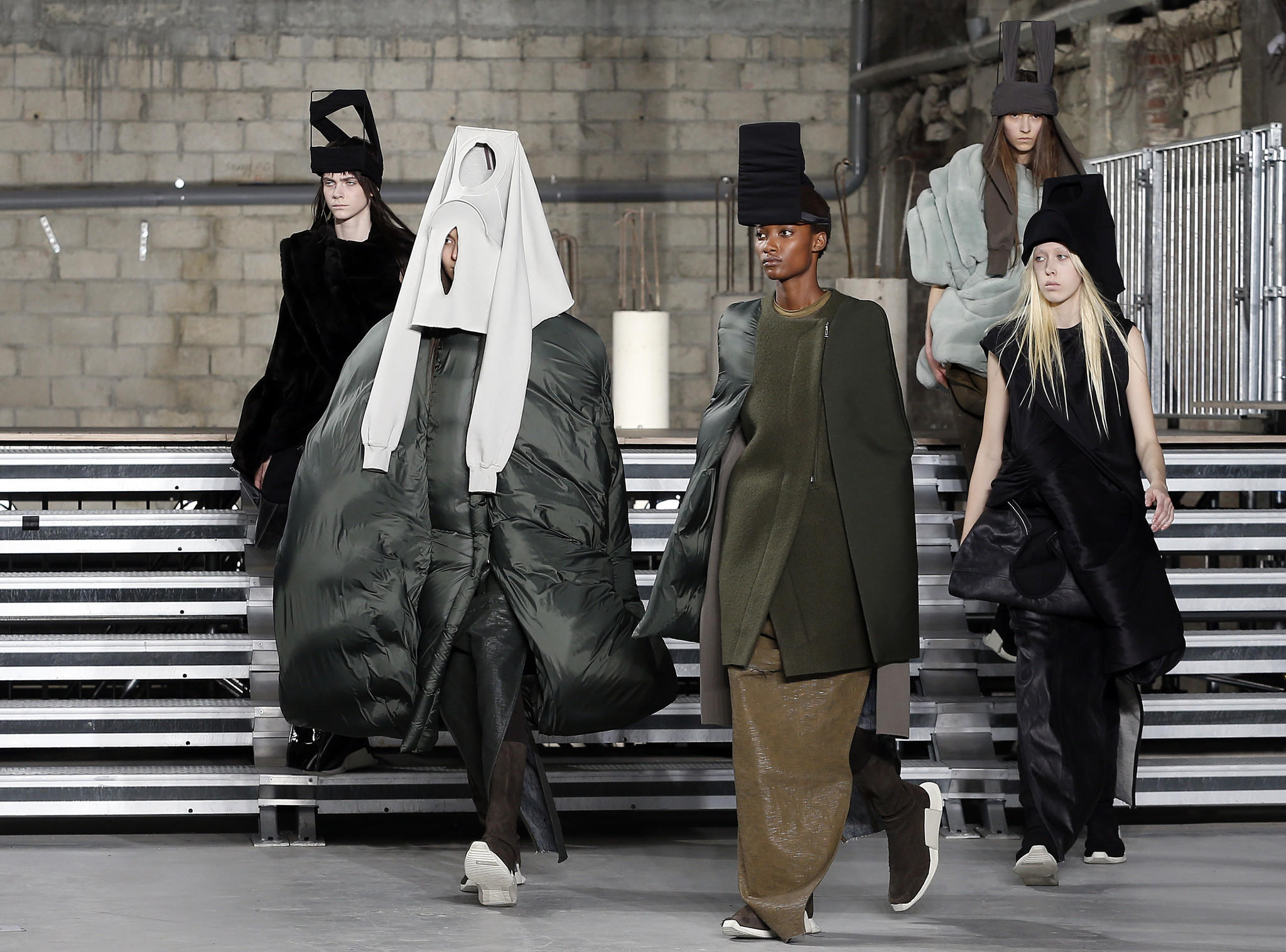 Models walk the runway during the Rick Owens show as part of the Paris Fashion Week Womenswear Fall/Winter 2017/2018 on March 2 in Paris.