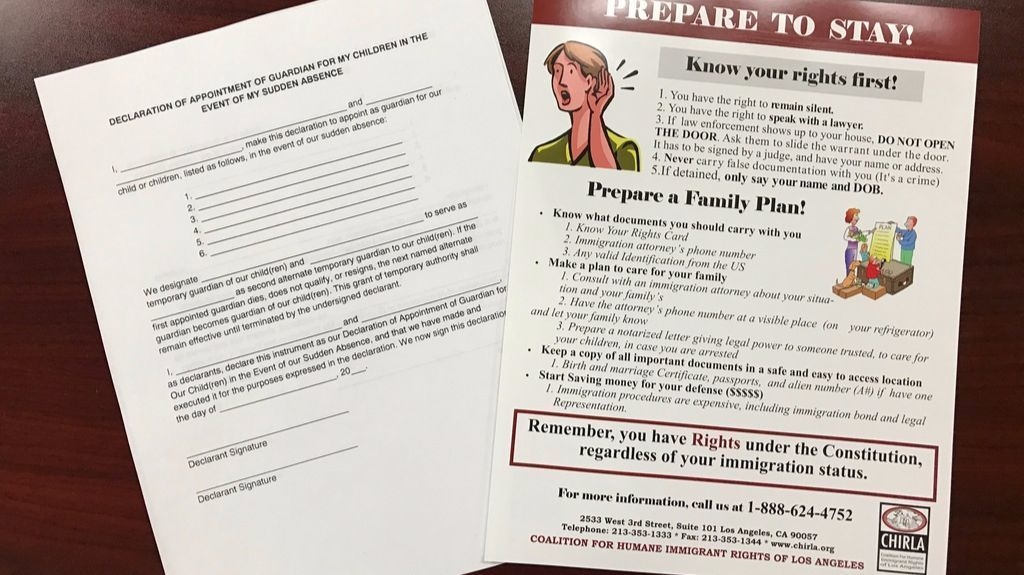 Guardian slips and information sheets distributed to Los Angeles-area immigrant families by aid organizations.