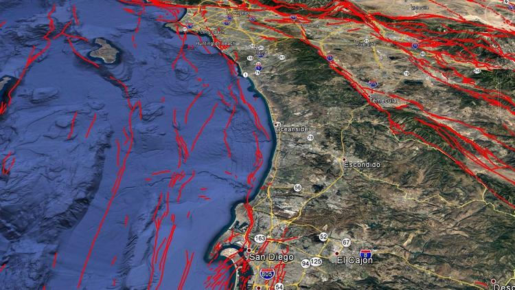 This map of earthquake faults shows the general route of the Newport-Inglewood/Rose Canyon fault system, which extends from San Diego along the coast to Huntington Beach, Long Beach and into the Westside of Los Angeles.