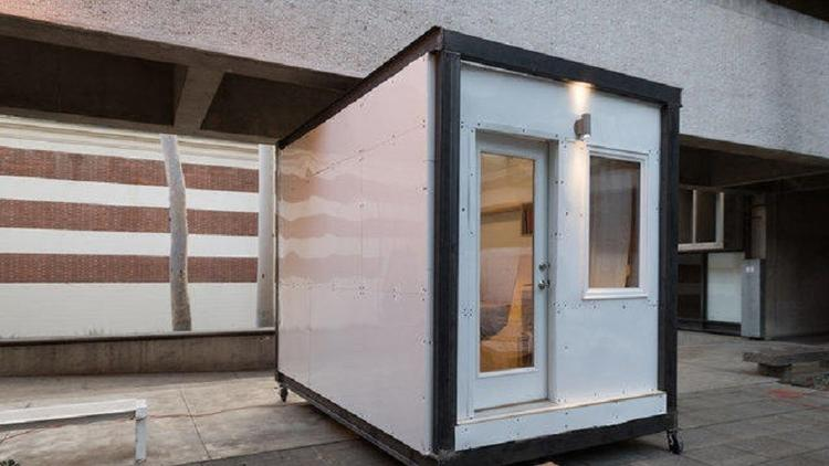 A completed prototype for modular homeless housing by the MADWORKSHOP Homeless Studio.