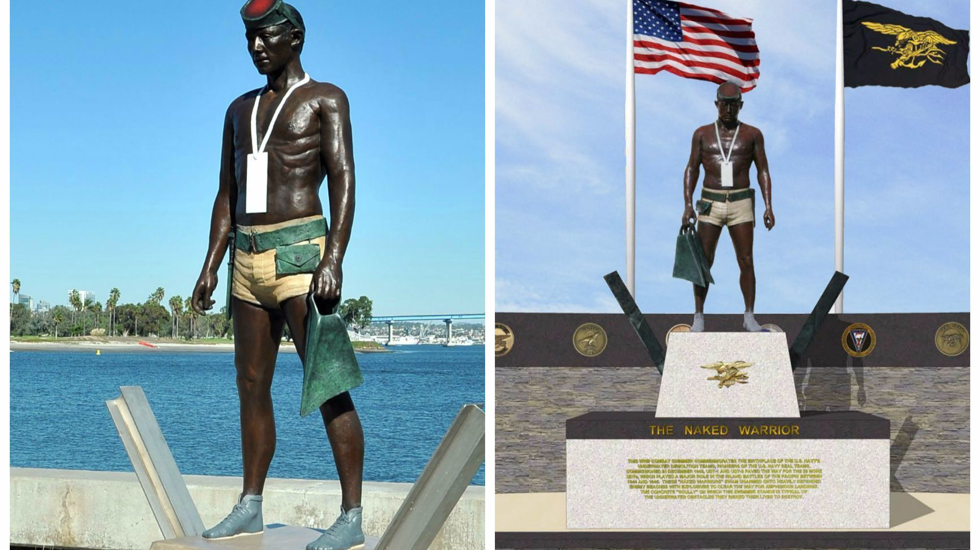 The Naked Warrior UDT Statue at the Navy SEAL Museum