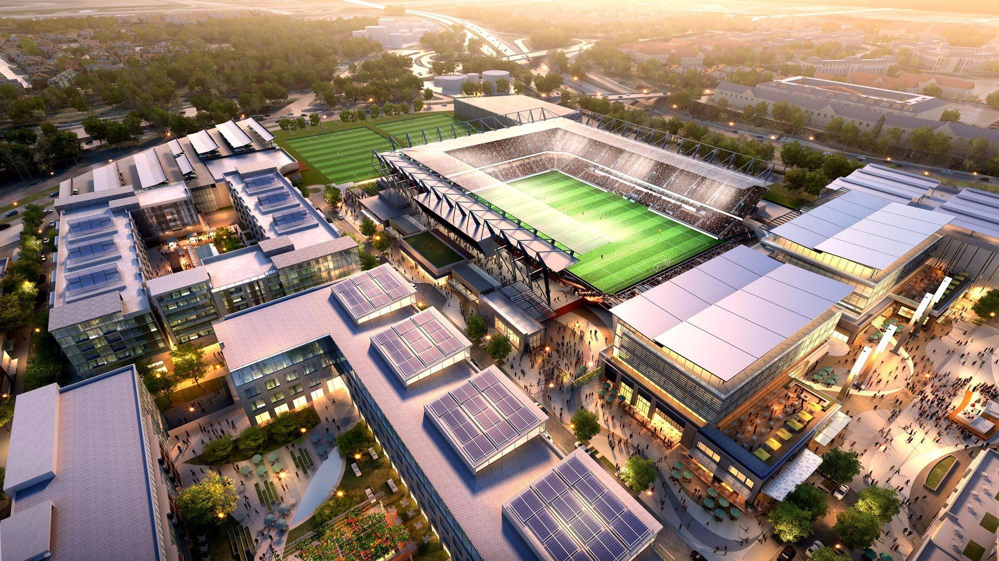 An architectural rendering of SoccerCity, a $1 billion redevelopment proposed for the Qualcomm Stadium site in San Diego's Mission Valley.