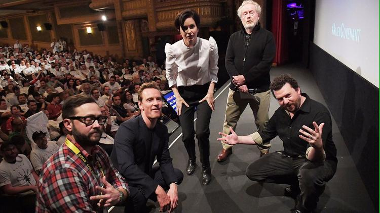 "At the ""Alien"" screening during the 2017 SXSW Film Festival, from left, SXSW producer Jarod Neece, actors Michael Fassbender, Katherine Waterston, director Ridley Scott and actor Danny McBride. (Matt Winkelmeyer / Getty Images for SXSW)"