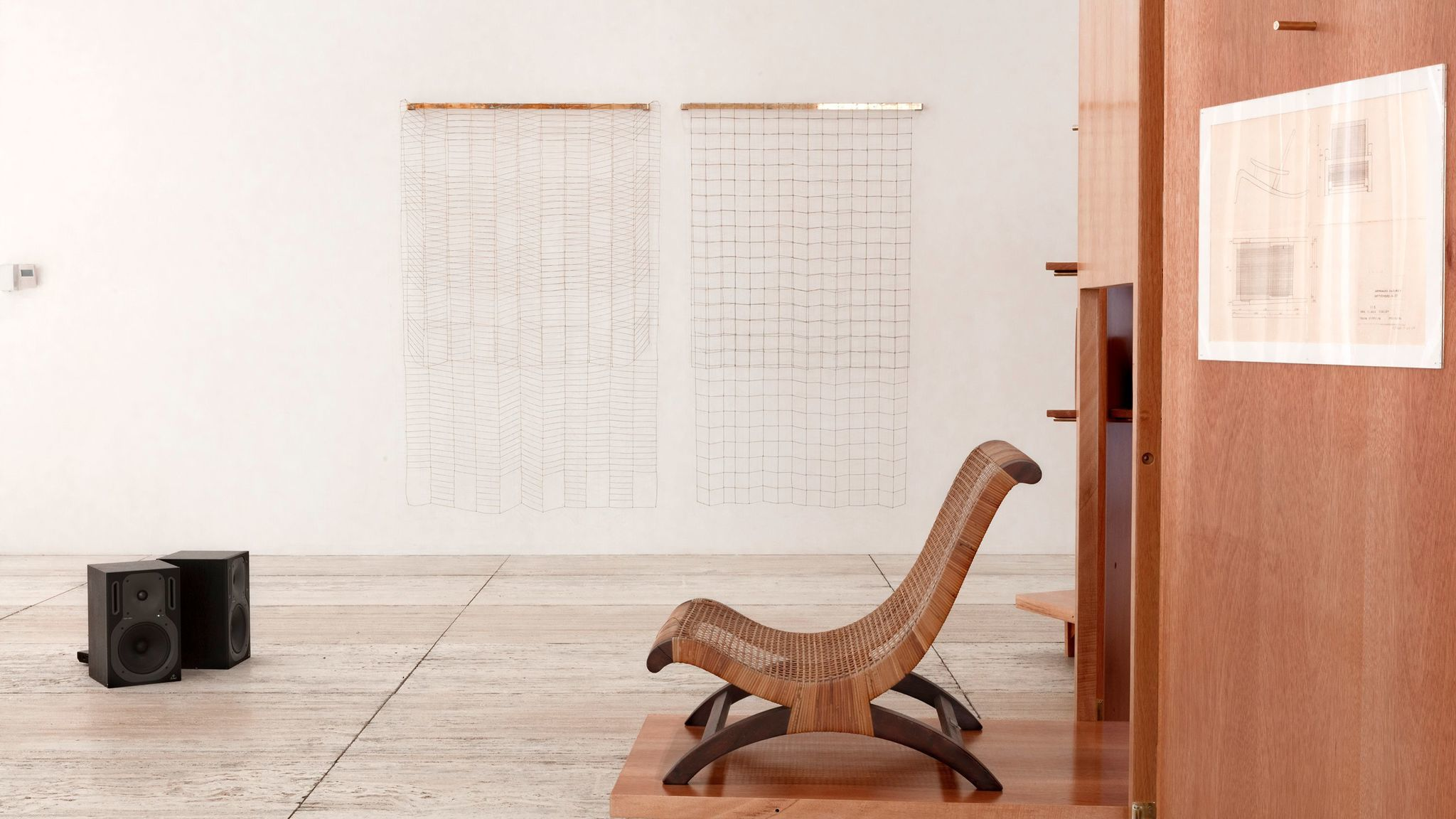 "An installation view of ""Passersby 02: Esther McCoy"" shows a butaque chair, which McCoy was interested in trying to mass-produce in the U.S."
