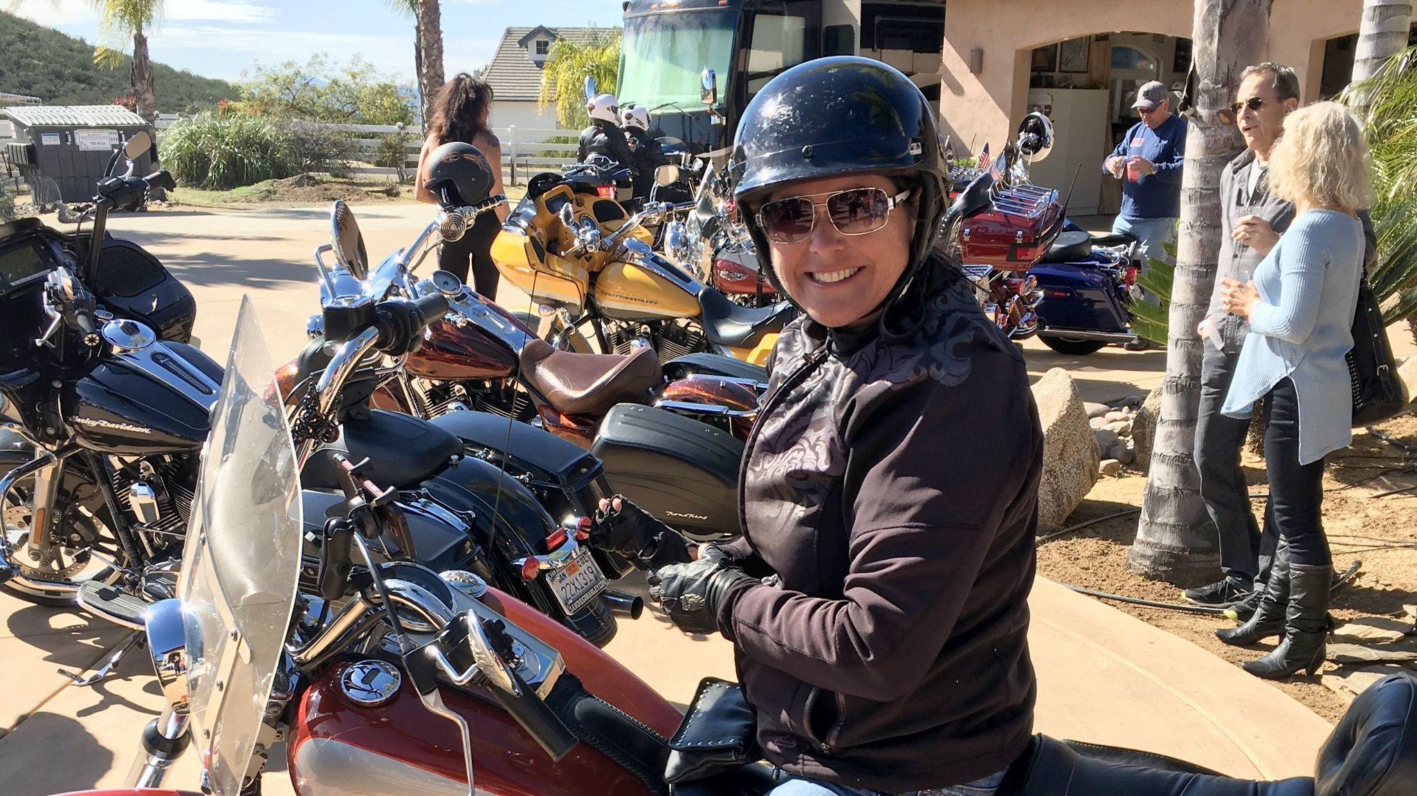 "Carla Crews from Alisa Vieja is among the 49 bikers who arrived for the ""22 to Zero"" fundraiser."
