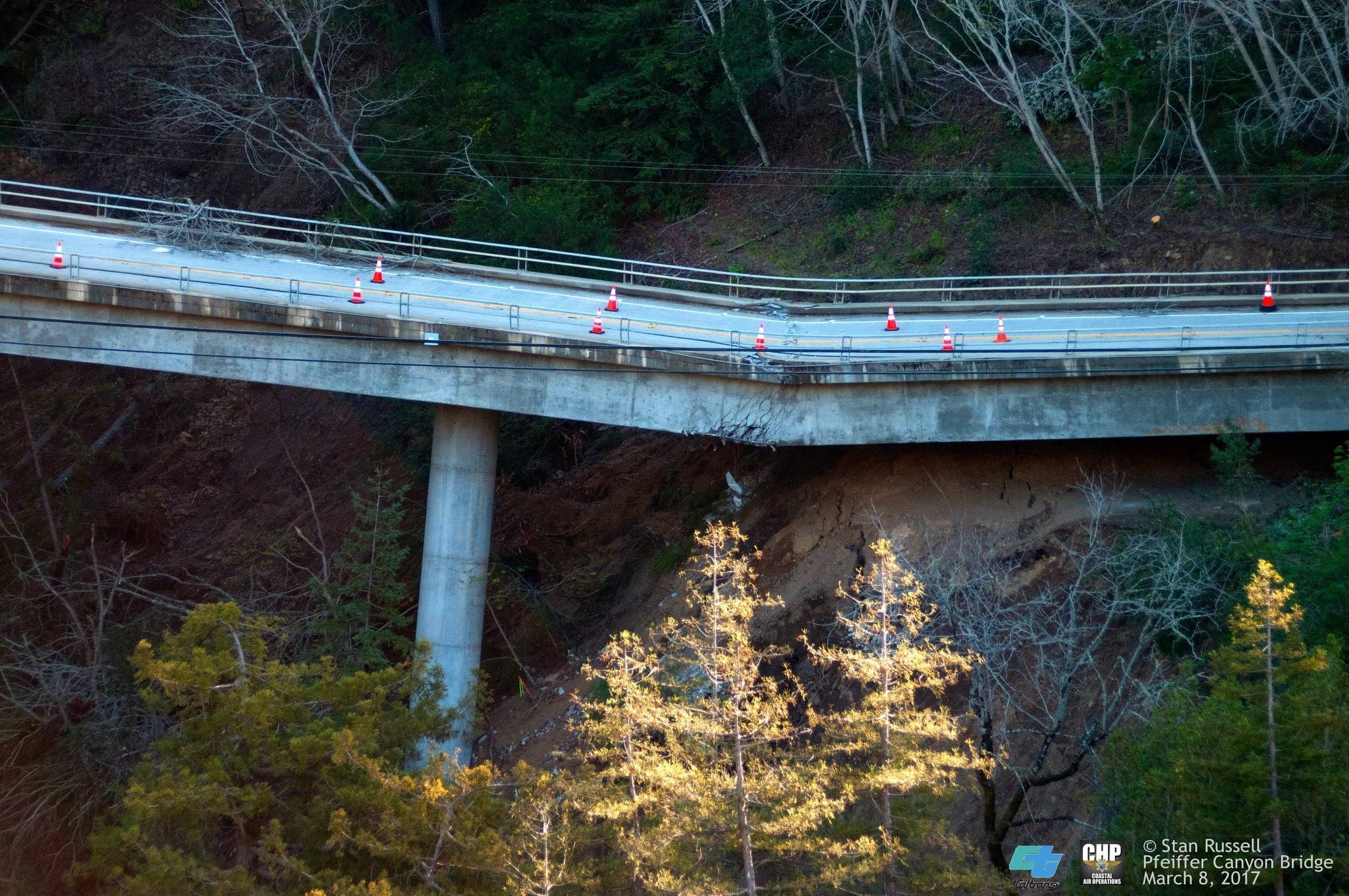 Pfeiffer Canyon Bridge on Highway 1 in Big Sur cracked and continues to slide down the mountainside. Caltrans released this photo a week ago. (Stan Russell / Big Sur Chamber of Commerce)