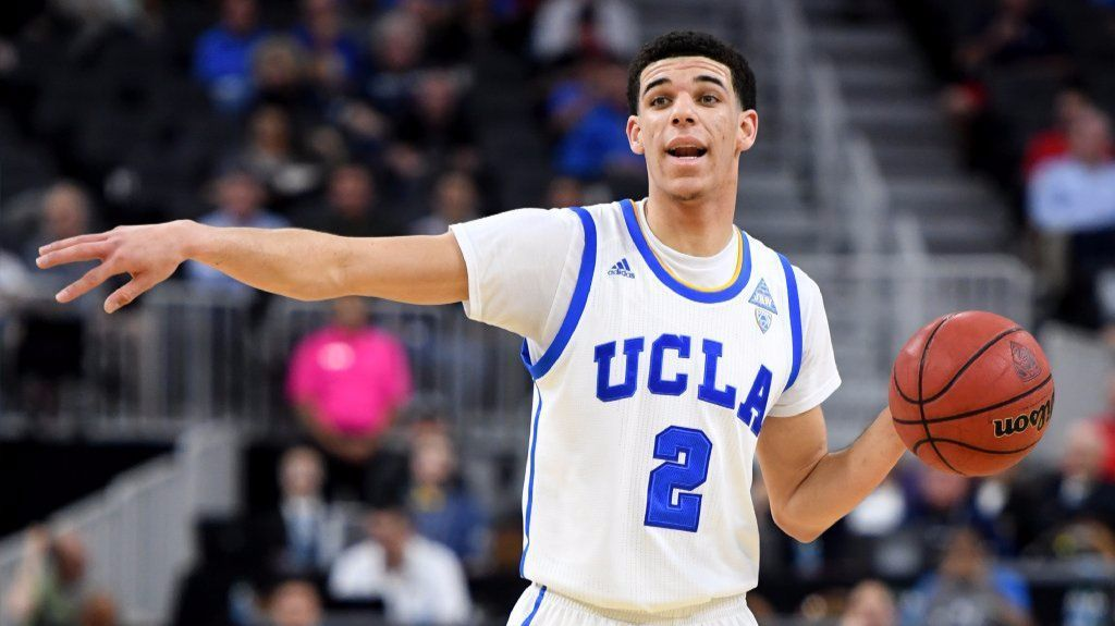 UCLA guard Lonzo Ball directs traffic during a Pac-12 tournament quarterfinal game against USC on March 9.
