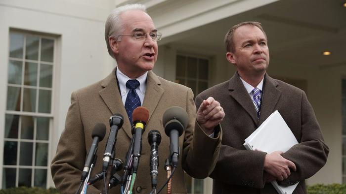 Health and Human Services Secretary Tom Price and Office of Management and Budget Director Mick Mulvaney defend the GOP healthcare legislation at the White House last week. (Getty Images)