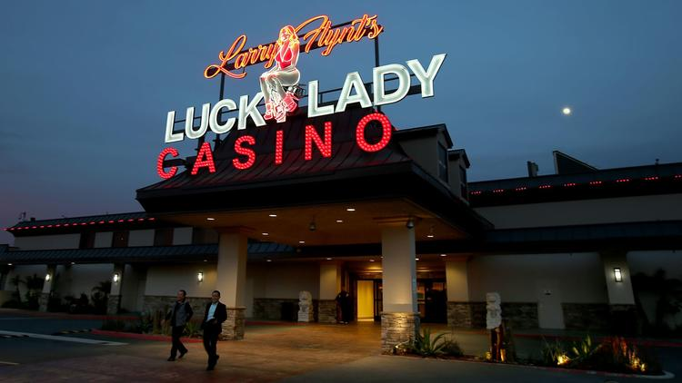 The exterior of Larry Flynt's Lucky Lady Casino in Gardena. The working-class city hopes Flynt's investment in the casino pays off for Gardena. (Luis Sinco / Los Angeles Times)