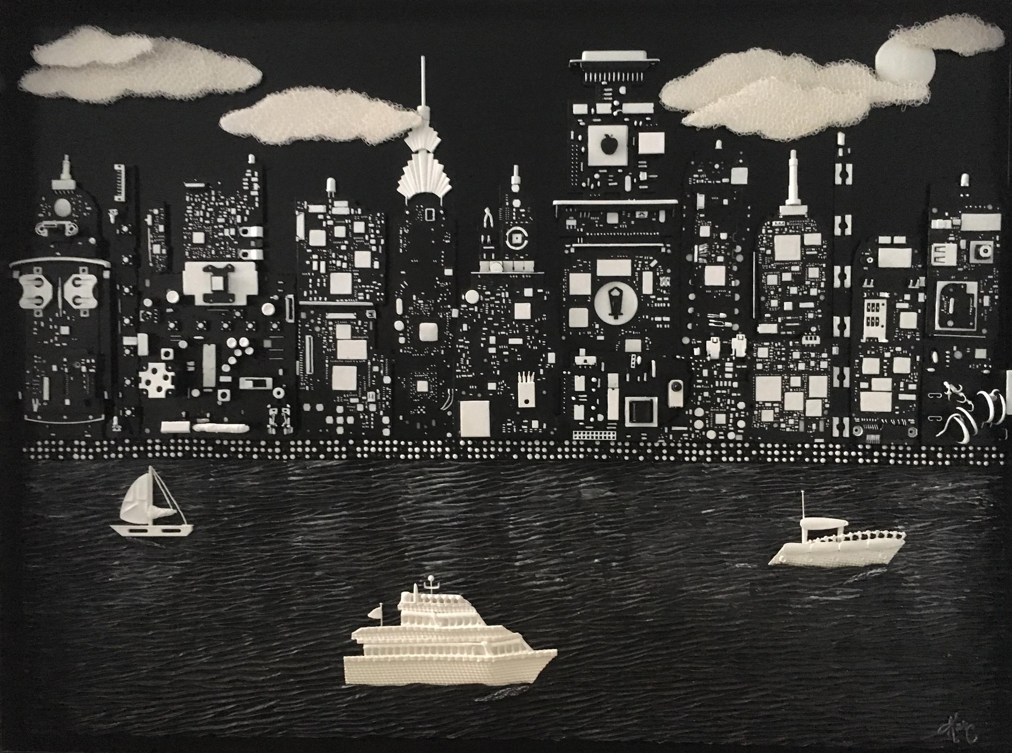 Karen Campagna's scene of New York at night.