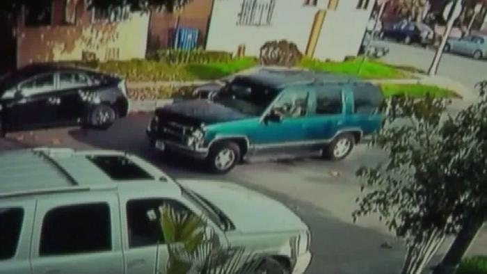 A surveillance camera captured an image of the SUV suspected of crashing into a 5-year-old boy and fleeing the scene. (KTLA-TV)