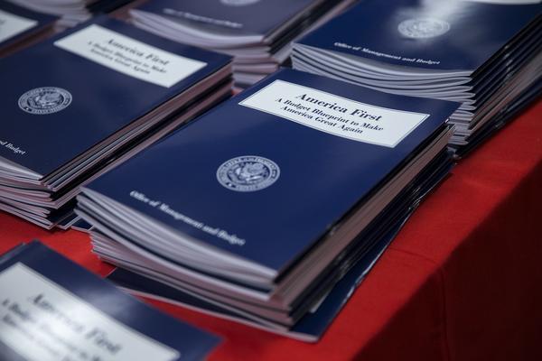 Copies of President Trump's America budget are seen in Washington, D.C. (Shawn Thew / EPA)