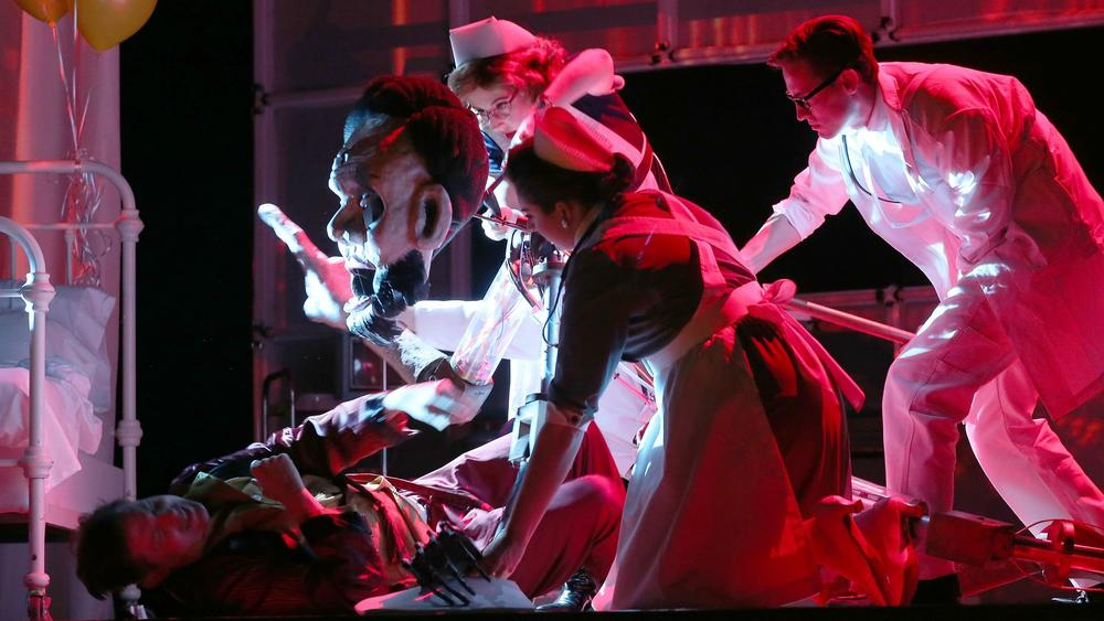 """Long Beach Opera's production of Philip Glass' """"The Perfect American"""" is about the final days of Walt Disney. (Luis Sinco / Los Angeles Times)"""