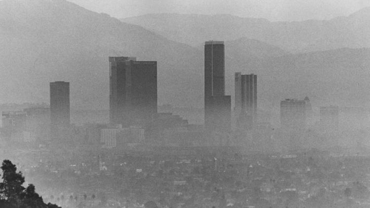 L.A. appears covered in smog in 1973.
