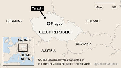 Map: Terezin, Czech Republic