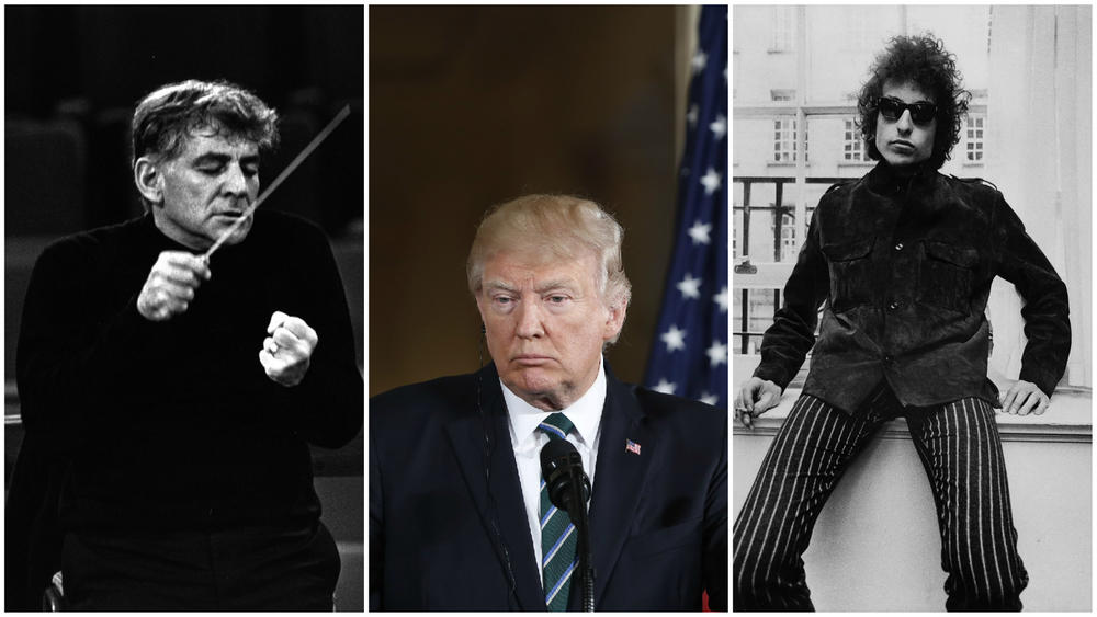President Trump's proposed redlining of the NEA faces some powerful history, including Leonard Bernstein, left, who led the Concert for Peace, and Bob Dylan, who pushed 1960s pop culture. (From left: Erich Auerbach / Getty Images; Associated Press; Fiona Adams / Redferns)