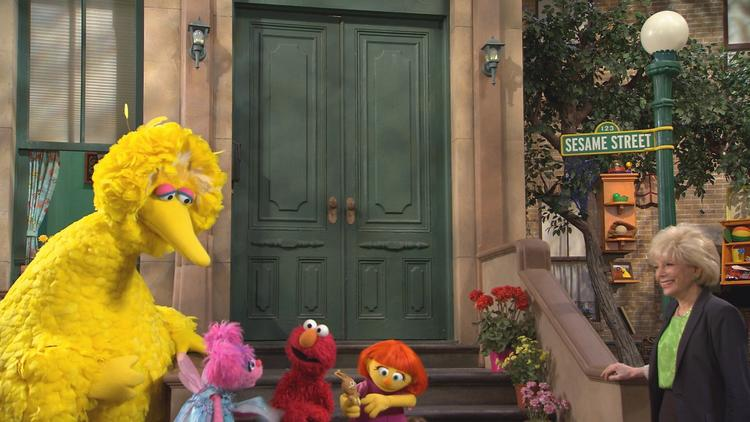 """60 Minutes' "" Lesley Stahl visits the set of ""Sesame Street"" for the first time."