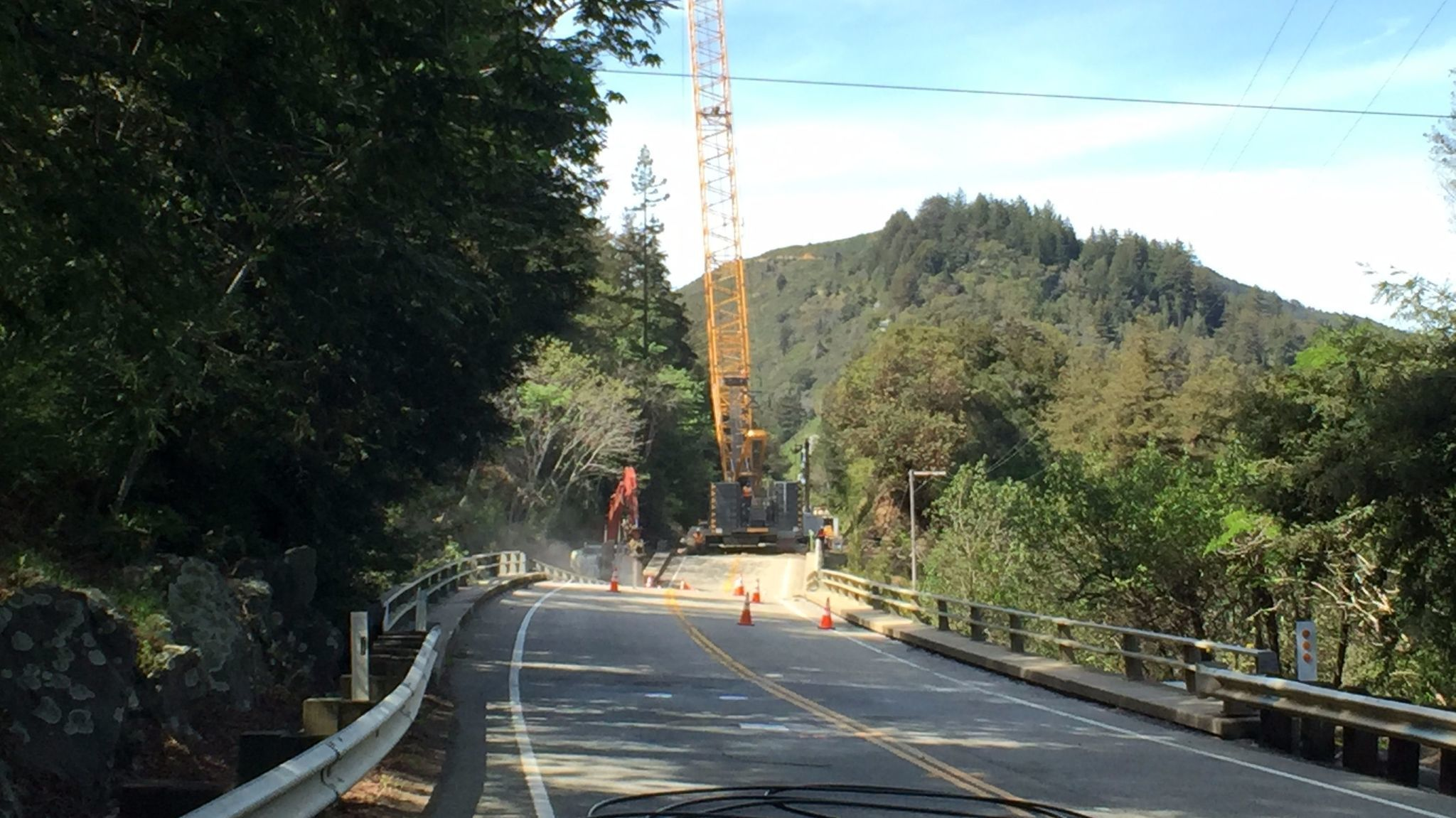 On Highway 1 in Big Sur, the Pfeiffer Canyon Bridge has buckled. (Robin Abcarian / Los Angeles Times)