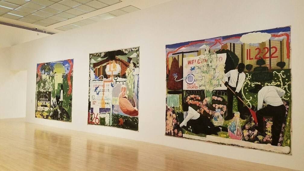 "Kerry James Marshall's monumental ""paradise gardens"" show housing projects in L.A. and Chicago,"