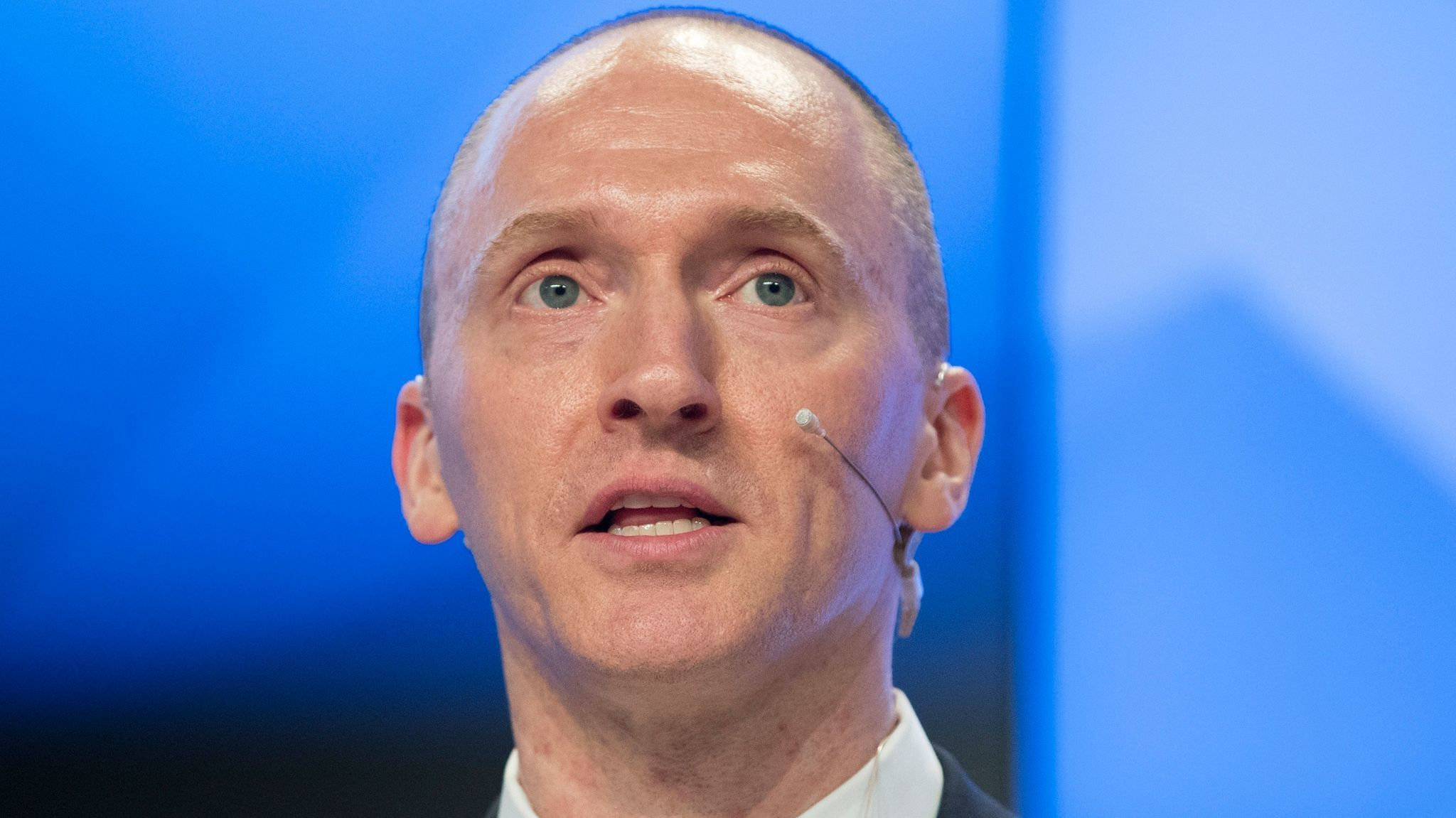 Carter Page speaks at a news conference in Moscow in December.