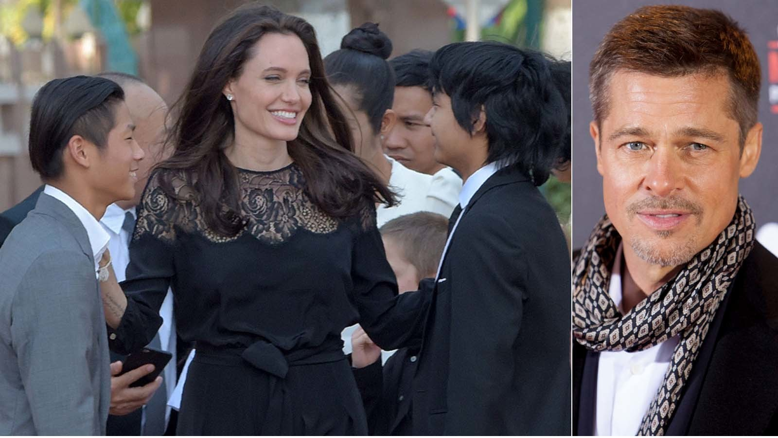 Angelina Jolie Pitt with sons Pax, left, and Maddox; Brad Pitt, right. (Tang Chhin Sothy/ AFP / Getty Images, left; Abraham Caro Marin / Associated Press, right)