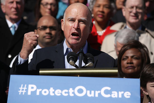 Gov. Jerry Brown speaks at a rally of congressional Democrats on Capitol Hill on Wednesday. (Alex Wong/Getty)