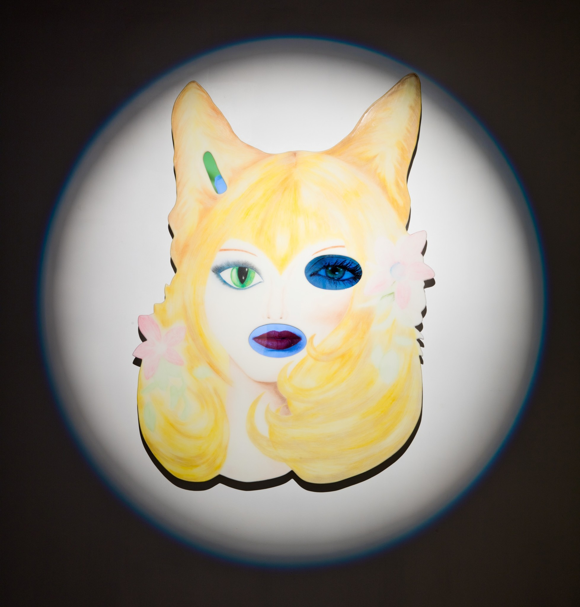 "Tony Oursler's ""Gold [Hypnotics],"" 2017, color pencil, wood, resin, acrylic, media players, LED flat screens."