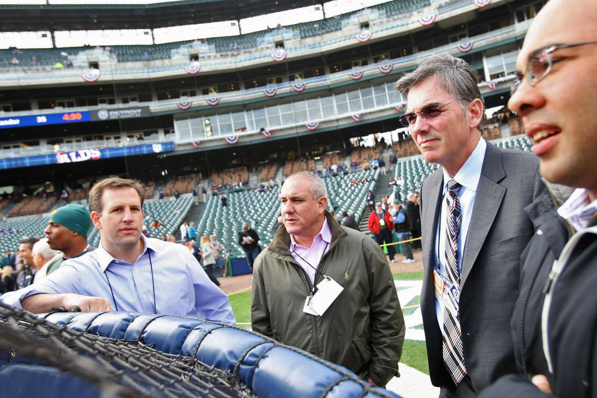 Farhan Zaidi, right, with Oakland A's assistant general manager David Forst, from left, director of scouting director Dan Feinstein and general manager Billy Beane at Detroit's Comerica Park in 2012. Zaidi was an essential part of the Athletics' executive team.