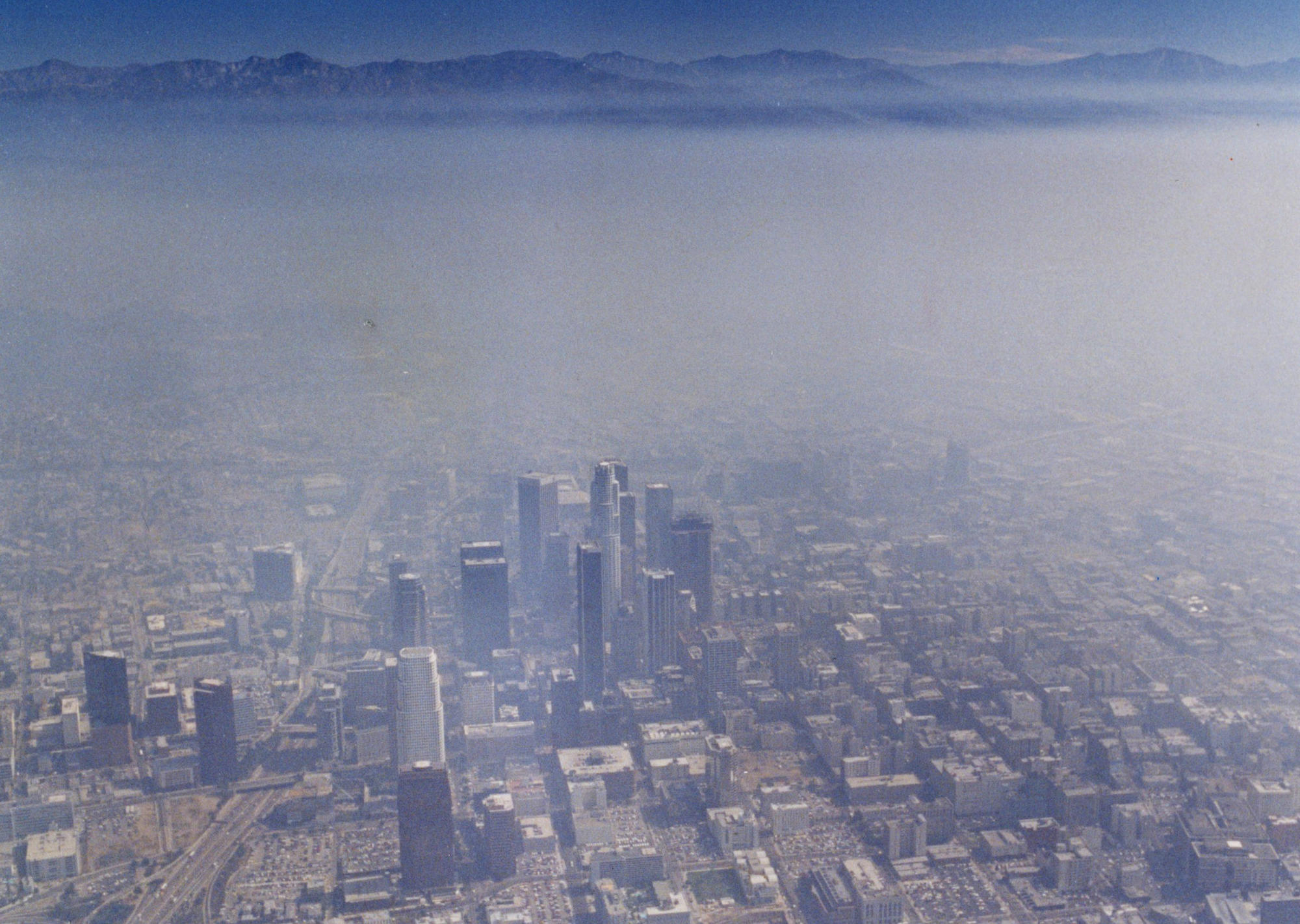 Aug. 30, 1990: An aerial view of the downtown Los Angeles skyline.